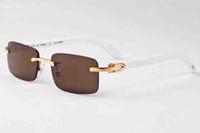 chifres de búfalos venda por atacado-2019 designer búfalo chifre mens retro óculos de sol de madeira dos homens e das mulheres preto marrom lente transparente frameless designer de marca de condução de vidro