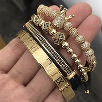 ingrosso vendita di gioielli fatti a mano-Vendita calda classica fatta a mano braccialetto intrecciato oro hip hop uomo pavimenta zircone zircone corona numeri romani braccialetto gioielli di lusso j190719