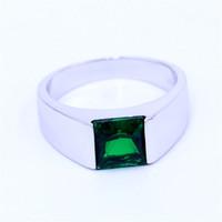 3ct trauringe großhandel-Feine grüne Birthstone Männer Ringe Princess Cut 3ct 5A Zirkon Cz 925 Sterling Silber Engagement Ehering Ring für Männer