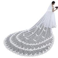 4m voile achat en gros de-Main faite sur commande de haute qualité mariage voile de mariée 4M dentelle carrelage dentelle longue avec voile cathédrale peigne libre