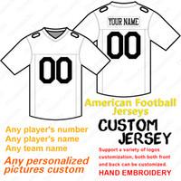 ingrosso maglia personalizzata di calcio americano-2019 jersey di football americano personalizzato anyname qualunque numero maglie da calcio cucite taglia S-4XL rosso bianco grigio blu navy Spedizione gratuita