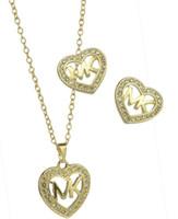 boucles d'oreilles pendentif coeur achat en gros de-ensemble de bijoux M lettre pendentif collier earringsfashion collier pendentif boucles d'oreilles percer femmes coeur shap deux pièces de diamant ensemble de bijoux