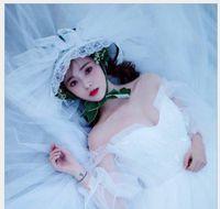 американские свадебные головные уборы оптовых-Цилиндр в европейском стиле лес кружева студийное фото свадебное платье ретро европейский и американский белый марля шляпа ювелирные изделия