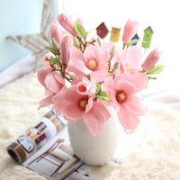 magnolias de seda al por mayor-Magnolia artificial flor arco de la boda decoración Artificial magnolia de seda flor falsa rama organizar mesa boda decoración para el hogar