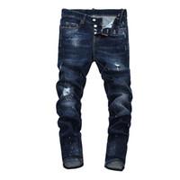синие джинсы модные мужчины оптовых-22 Стиль мужские дизайнерские джинсы Мужские рваные джинсовые рваные джинсы синего хлопка модные обтягивающие весна осень мужские брюки A7912