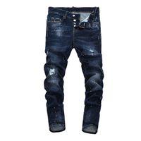 blue jeans déchiré achat en gros de-dsquared 22 Jeans de style pour hommes Homme déchiré Jean en jean déchiré bleu coton fashion Tight printemps automne pantalon pour hommes A7912 PHILIPP PLEIN DSQUARED2 DSQ2 D2