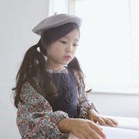 bérets en laine enfants achat en gros de-Nouveau automne Bébés filles Laine Bérets Chapeau Enfants Peintres Chapeaux de sucrerie de couleur Princesse Chapeau A592