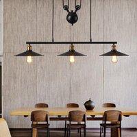 Vintage Pendant Light accessoires de cuisine style loft Hanglamp Poulie  lampe rétro noir métal suspension industrielle luminaria