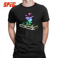 neonhemd männer großhandel-Sommer Neon Haus Katze Regenbogen DJ Kitty Leuchten T Shirts für Männer Casual Kurzarm Baumwolle T-shirt Druck Plus Größe