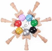 ingrosso giocattolo giapponese della sfera di legno-Giocattoli di legno tradizionali giapponesi della grande palla di Kendama di trasporto libero di DHL molti giocattoli della novità di regali di istruzione di colori 18.5 * 6cm