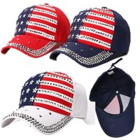 Wholesale rivet flag for sale - Group buy Donald Trump Rivet Ball Cap Diamond Bling President Adjustable Hat Hip Hop Punk Snapbacks Star USA Flag Rhinestone Peaked Caps C71101