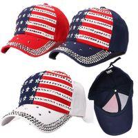 Wholesale punk boy cap resale online - Donald Trump Rivet Ball Cap Diamond Bling President Adjustable Hat Hip Hop Punk Snapbacks Star USA Flag Rhinestone Peaked Caps C71101