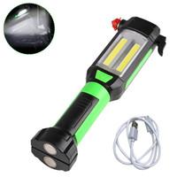 manyetik tırmanma toptan satış-Manyetik Araba Tamir Çalışma Işık COB LED El Feneri USB Kamp Tırmanma Avcılık için Taşınabilir Lamba Şarj