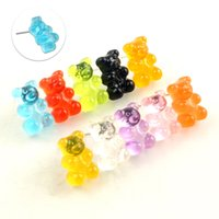 Wholesale bears earrings resale online - Lovely Handmade Colorful Ins Style Resin Bear Cartoon Earrings Candy Color Animal Stud Earring For friend Daily Funny Jewelry