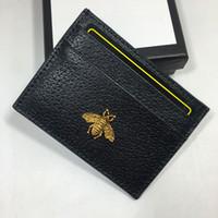 metal kredi kartı sahipleri kadınlar toptan satış-Hakiki Deri Küçük Cüzdan Sahipleri Kadın Metal Arı Bankası Kredi Kartı Paketi Para Çanta Kart KIMLIĞI Tutucu çanta kadın Ince Cüzdan Cep Kılıfı