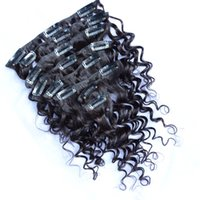 Wholesale discount hair weave extensions resale online - Deep Wave Burmese Clip Hair Extensions Natural Clips in Curly Virgin Raw Human Hair Weave Product Hot Discount Cheap g set inch inch