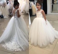 Wholesale blue prom dresses for kids resale online - 2020 New Cheap Cute Flower Girl Dresses For Weddings Lace Appliques Sleeveless Sweep Train Girls Pageant Dress Prom Kids Communion Gowns