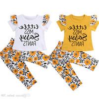 flores de calças amarelas venda por atacado-2019 Novas Crianças Meninas Roupas Set Little Miss Sassy Calças Amarelo Flor de Manga Curta Roupa Dos Miúdos T Shirt Longa Pant Outfit Conjunto