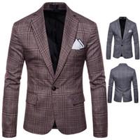 calidad británica al por mayor-Blazer para hombre Chaqueta Moda Estilo británico Ocio de los hombres Traje de negocios Personalidad Ropa masculina Alta calidad