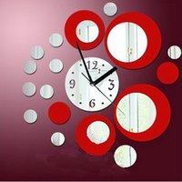 sanat masa saati toptan satış-Modern Daireler Akrilik Ayna Tarzı Duvar Saati Çıkarılabilir Çıkartması Art Sticker Dekor elektronik masa saati