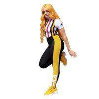 Wholesale casuals clothing women resale online - FIL Brand Women Tracksuit Designer Striped T shirt Patchwork Leggings Pants Pieces Fashion Outfits Luxury Casual Clothing Suit C7106