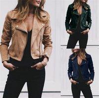 новый женский pu кожа тонкий оптовых-Новая женская мягкая искусственная кожа куртка Прохладный отворотом Zipper пальто Байкер Мотоцикл куртки Осень Зима Женщины Rivet Тонкий Outwear
