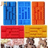 Wholesale eco chocolate mould resale online - 10 Holes Brick Blocks Shaped Rectangular DIY Chocolate Cake Mold Silicone Ice Cube Tray Cake Tools Fondant Moulds