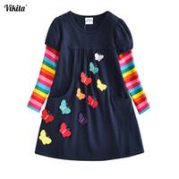 смешивать детскую одежду оптовых-VIKITA Kids Girls Dress Baby Children Toddler Princess Dress Vestidos Children's Clothing Girls Winter Dresses 2-8Y LH5805 MIX