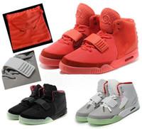 basketbol ambalajı toptan satış-2019 Kanye West 2 II SP Kırmızı Ekim Spor Basketbol Ayakkabıları Toz Torbası Ile Paketleri Ile Erkek Sneakers Glow Koyu Octobers Atletik Eğitmenler