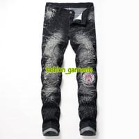 Wholesale vintage badges resale online - 2019 New Mens Vintage Motorcycle Jeans Mens Designer Pants Mens Elastic Hole Badge Personalized Pants Men Fashion Jeans Two Colors