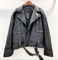 черная полосатая рубашка оптовых-2019 heavy work black sequined splicing leather jacket female suit collar belt was thin short PU leather shirt tide Hot New