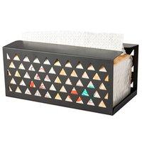 бумажная салфетка черный оптовых-Новый железный Tissue Box Салфетка бумажная коробка ткани Обложка держатель бумаги Полотенце Контейнер Office для настольных хранения Черный