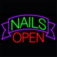 gafas abiertas al por mayor-New Star Neon Sign Factory 17X14 pulgadas Real Glass Lámpara de señal de neón para cerveza Bar Pub Garaje Nails Room Open.