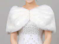 Wholesale evening stoles wraps resale online - Bridal Shawl Ivory white Faux Fur Bridesmaids Cape Jacket Prom Evening Dress Wedding Wrap Stole