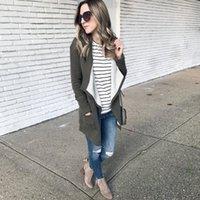 ingrosso cardigan lungo tappeto-Cappotto solido Outwear del maglione del colletto del maglione caldo del colletto del nuovo di Drape delle donne