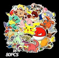 Wholesale 80 set Cartoon po ke Graffiti Sticker Personality Luggage DIY stickers Squirtle firedragon Bulbasaur PVC Wall stickers bag toys BY1269