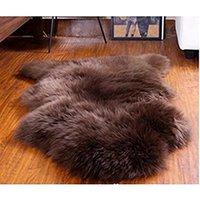 ingrosso coperture di sedia blu-Tappeti zona di lana australiana Brown Zelanda 2x3 piedi tappetino vera pelle di pecora Tappetino Tappetino in vera pelle di pecora Copridivano