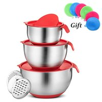 Wholesale mixer cake resale online - Mixing Bowls Stainless Steel Lid Grater Non Slip DIY Cake Bread Salad Mixer Kitchen Washer String Tool with Cover Food Container T191014
