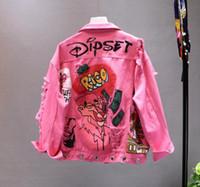 mode-jeansjacken frauen großhandel-Frauen Denim Jacke Mode Neue Persönlichkeit Druck Graffiti Zerrissene Löcher Lose Beiläufige Jean Mantel Weibliche Freizeitkleidung Oberbekleidung