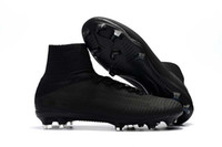 Wholesale cr7 best shoes resale online - Best Quality All Black Soccer Cleats Mercurial Superfly V TF IC FG CR7 Football Boots Mens Kids Womens Soccer Shoes