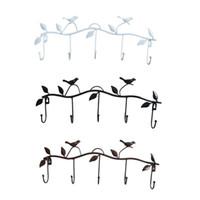 Wholesale fabric working clothes resale online - Vintage Bird Wrought Iron Hook Door Bathroom Towel Clothes Coat Hat Tie Scarf Bag Hanging Storage Shelf Entrance Key Wall Hook