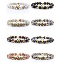 Wholesale Natural Volcanic Rock Bracelet Anti fatigue Handmade Beaded Bracelet Inlaid Zircon Crown Fashion Charm Bracelet Multicolor Support