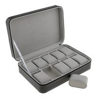 compartimientos maletín al por mayor-Phenovo caja de reloj durante 10 ranuras de viajes Maletín de diseño de cuero grandes compartimentos con cierre de cremallera joyería Embalaje Display