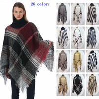 Wholesale vintage cloaks for sale - Group buy Plaid Poncho Girls Check Vintage Cape Scarf Wrap Knit Cashmere Scarves Shawl Cardigan Blankets Cloak Coat Sweater MMA2427