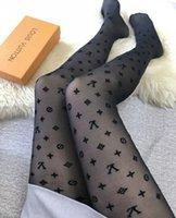 ingrosso calze nere sexy più sottile-VV ** 2018 lettera logo donne collant neri collant sexy calze di seta sottile del pagliaccetto jacquard femminili delle ghette sexy estate del merletto delle signore calzini
