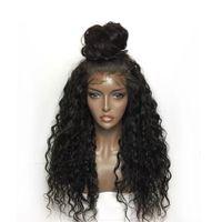 ingrosso parrucche di pizzo fatte-Parrucche per capelli umani anteriori in pizzo riccio per le donne Parrucca di pizzo brasiliano di colore nero Frontale spennato frontale può fare un panino a 360 cerchi