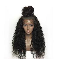 perucas feitas para mulheres negras venda por atacado-Perucas de cabelo humano da parte dianteira do laço encaracolado para mulheres cor preta peruca de laço brasileiro Frontal arrancado final completo pode fazer 360 círculo Bun