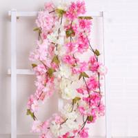 Wholesale arch decorations resale online - 180 cm Cherry Blossoms Rattan Sakura Wedding Arch Decoration Vine Artificial Flowers Party Silk Ivy Wall Hanging Garland Wreaths