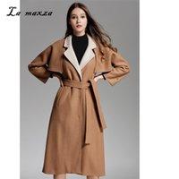 capa de invierno coreano abrigos mujeres al por mayor-Mujeres de lana de invierno abrigo largo cabo 2018 Vintage elegante moda estilo coreano invierno mujeres camel capa del cabo