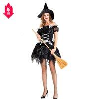 ingrosso cappelli da strega neri-9120 # di Halloween per adulti Nero breve paragrafo strega finta Contenere Cappello temperamento Piccolo Sorceress Notte Abbigliamento fantasma gioco